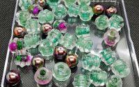 Margele sticla verde transparent diverse marimi