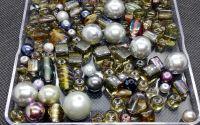 Margele sticla gri cu argintiu diverse marimi