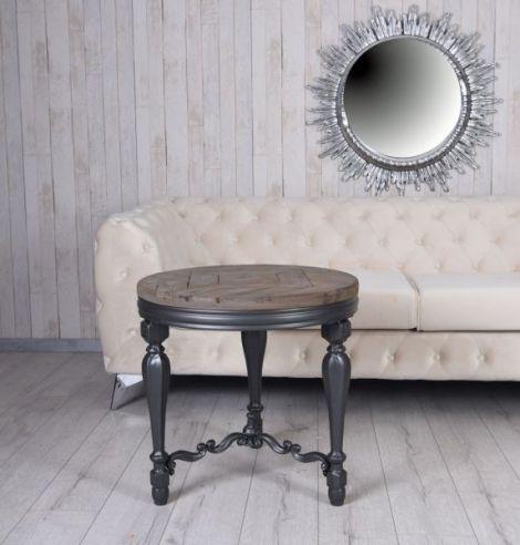Masa rotunda din lemn masiv negru cu blat din lemn