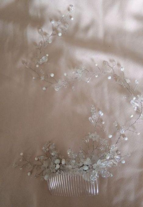 Accesoriu parpieptan mireasa flori si perle