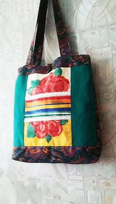 geanta  sacosa cu flori multicolor XXL