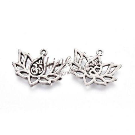 Charm floare de lotus placata cu argint thai