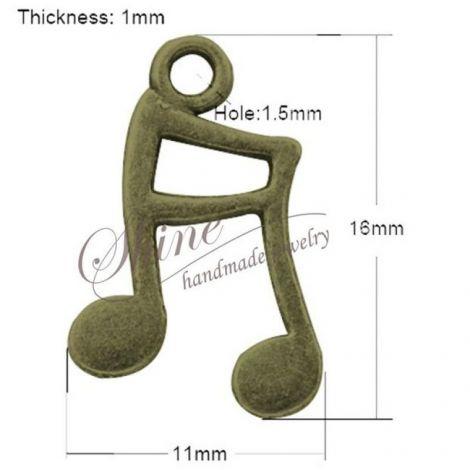 Charm nota muzicala bronz 16x11x1mm