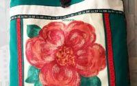 geanta sacosa cu floare XL