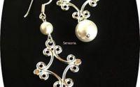 cercei argint 925 si perle de Mallorca albe
