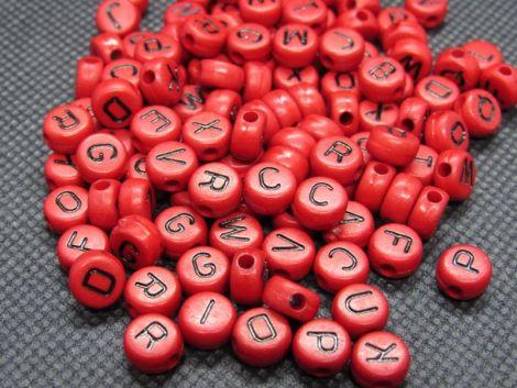 100buc margele rosii litere negre alfabet mix disc