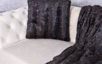 Perna decorativa din blana sintetica neagra