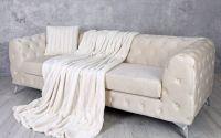 Patura decorativa din blana sintetica crem