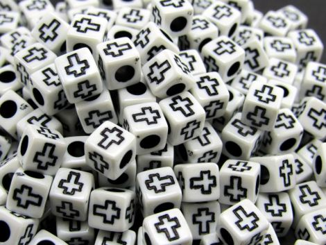 50buc margele acril albe cub cruce neagra - 6mm