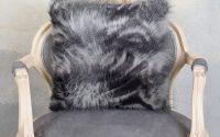 Perna decorativa din blana sintetica gri