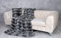 Patura decorativa din blana sintetica gri