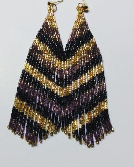 Cercei franjuri auriu-negru-bronz