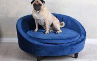 Canapea pentru animale din lemn masiv negru