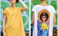 Rochii unicat cu print textil INGERASI PAZITORI