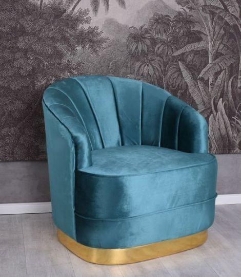 Fotoliu Art Deco din lemn cu tapiterie albastra
