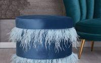 Scaun puf din lemn masiv cu tapiterie albastra