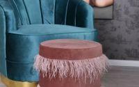 Scaun puf din lemn masiv cu tapiterie roz inchis