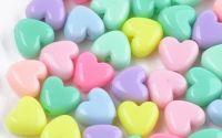 10 buc inima acril color mix 10 x 11 x 6 mm