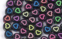 25buc margele acril inima color contur disc7x3.5mm