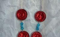 Colier rosu albastru reciclat