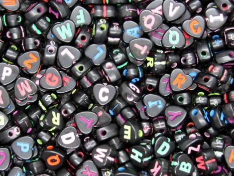 500buc litere inimi negre scris colorat6.5x6.5x4mm