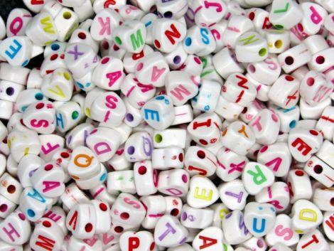 500buc litere inimi albe scris colorat 7x7.5x4mm