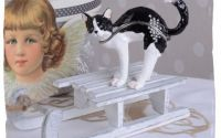 Caseta de bijuterii din metal emailat cu pisicuta