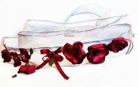 brau  accesoriu versatil cu flori grena