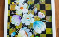 "Tablou pictura acrilica ""Checkered flowers"""