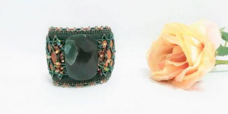 Bratara cu agata si piele naturala verdecamel