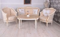 Set baroc din lemn alb cu tapiterie din matase