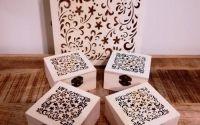 Set 5 cutii lemn natur dantelate