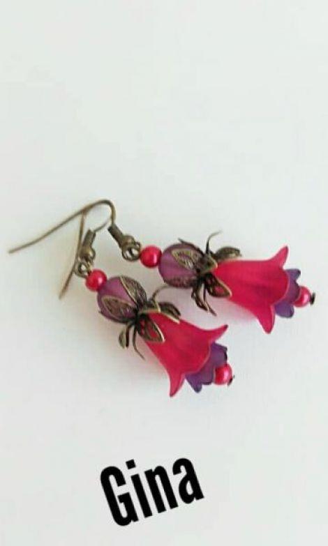 Cercei flori acrilice 2