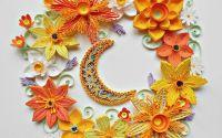 Tablou quilling flori sub clar de luna