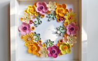 Tablou quilling coronita flori de primavara
