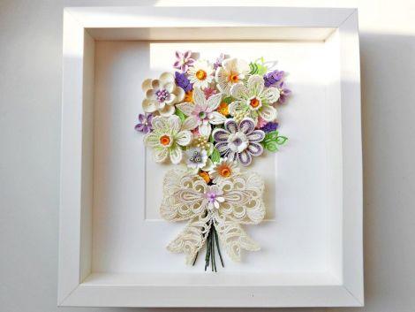 Tablou quilling buchet de flori