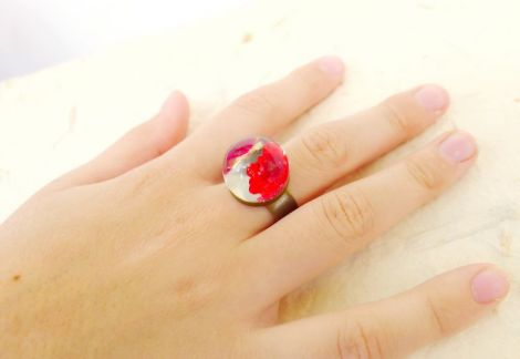 Inel Red flower cu floare naturala n rasina