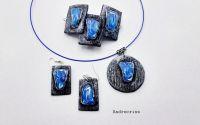 Blue stones      set bijuterii  din lut polimeric