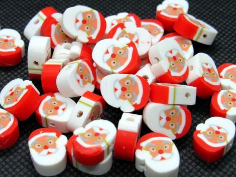 10buc Christmas SantaClaus polymer clay 10x4-4.5mm