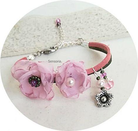 bratara cu floricele roz pal