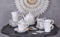 Set cafea din portelan alb pentru 6 persoane