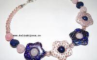 Colier cuart lapis lazuli sticla Millefiori