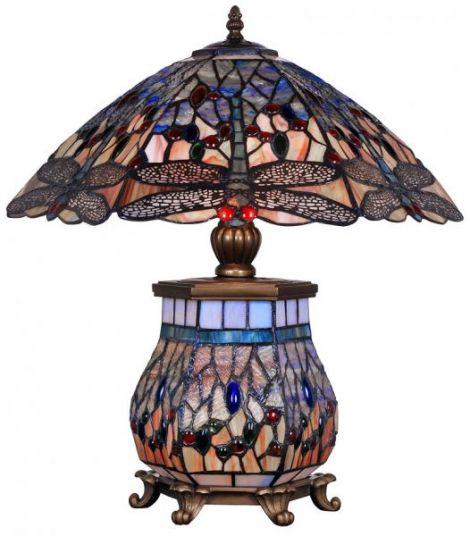 Lampa Tiffanny mare din bronz cu abajur din sticla