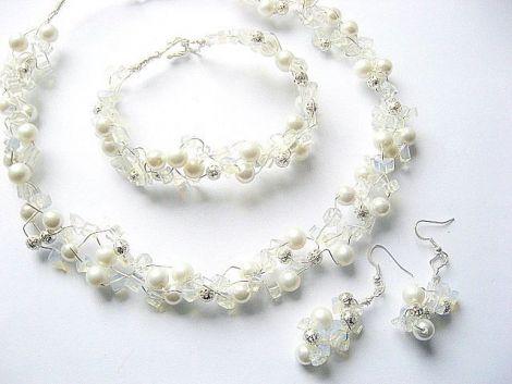 Set cristal stanca opalit si perle sticla