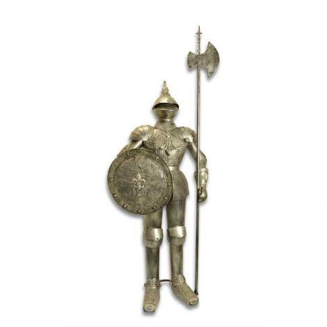 Armura gigantica argintie de cavaler medieval