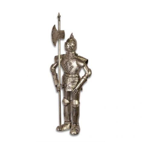 Armura medie argintie de cavaler medieval cu lance