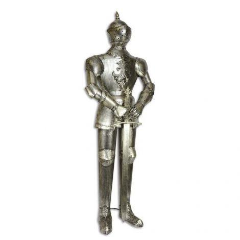 Armura medie argintie de cavaler medieval cu sabie