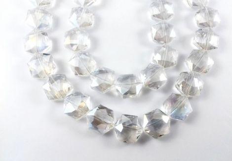 Margele cristal fatetate hexagonale 16 mm