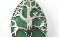 Pandativ lacrima aventurin verde inramat argintiu