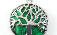 Pandantiv malachit rama argintie copacul vietii